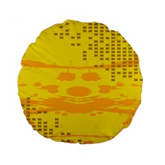 Texture Yellow Abstract Background Standard 15  Premium Round Cushions