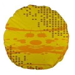 Texture Yellow Abstract Background Large 18  Premium Round Cushions