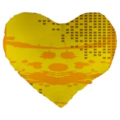 Texture Yellow Abstract Background Large 19  Premium Heart Shape Cushions