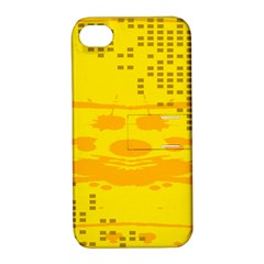 Texture Yellow Abstract Background Apple Iphone 4/4s Hardshell Case With Stand
