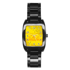 Texture Yellow Abstract Background Stainless Steel Barrel Watch