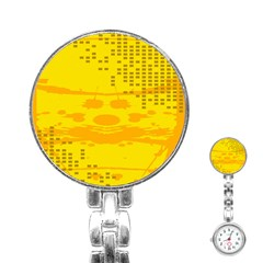 Texture Yellow Abstract Background Stainless Steel Nurses Watch