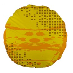 Texture Yellow Abstract Background Large 18  Premium Flano Round Cushions