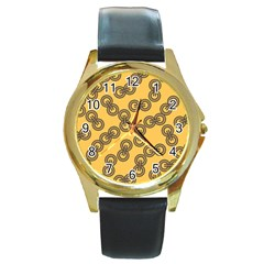 Abstract Shapes Links Design Round Gold Metal Watch