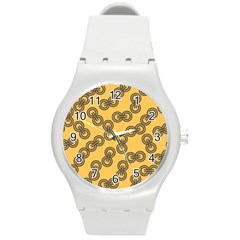 Abstract Shapes Links Design Round Plastic Sport Watch (M)