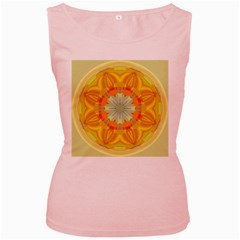 Sunshine Sunny Sun Abstract Yellow Women s Pink Tank Top