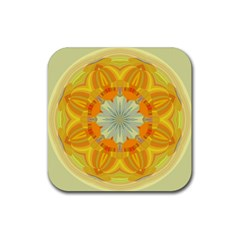 Sunshine Sunny Sun Abstract Yellow Rubber Square Coaster (4 Pack)
