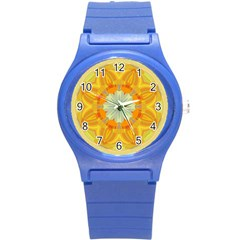 Sunshine Sunny Sun Abstract Yellow Round Plastic Sport Watch (S)