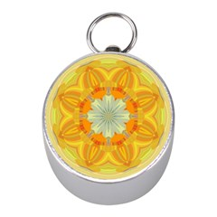 Sunshine Sunny Sun Abstract Yellow Mini Silver Compasses