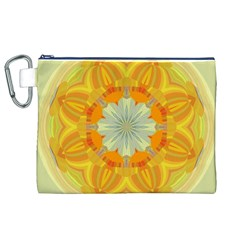 Sunshine Sunny Sun Abstract Yellow Canvas Cosmetic Bag (xl)
