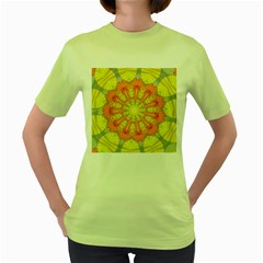 Sunshine Sunny Sun Abstract Yellow Women s Green T Shirt