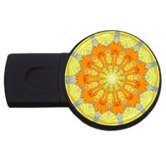 Sunshine Sunny Sun Abstract Yellow USB Flash Drive Round (1 GB)