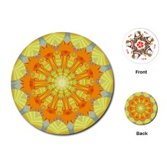 Sunshine Sunny Sun Abstract Yellow Playing Cards (round)