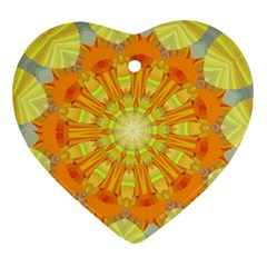 Sunshine Sunny Sun Abstract Yellow Heart Ornament (Two Sides)