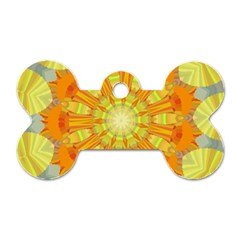 Sunshine Sunny Sun Abstract Yellow Dog Tag Bone (Two Sides)