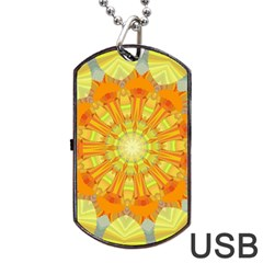 Sunshine Sunny Sun Abstract Yellow Dog Tag Usb Flash (two Sides)