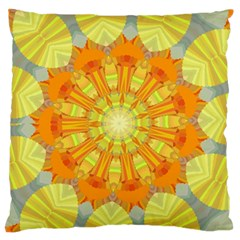 Sunshine Sunny Sun Abstract Yellow Large Flano Cushion Case (Two Sides)