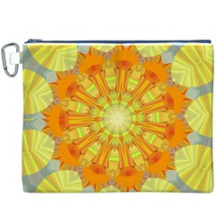 Sunshine Sunny Sun Abstract Yellow Canvas Cosmetic Bag (XXXL)