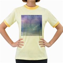 Business Background Blue Corporate Women s Fitted Ringer T Shirts