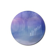 Business Background Blue Corporate Rubber Round Coaster (4 pack)