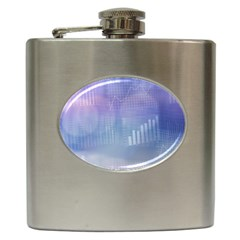 Business Background Blue Corporate Hip Flask (6 oz)