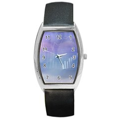Business Background Blue Corporate Barrel Style Metal Watch