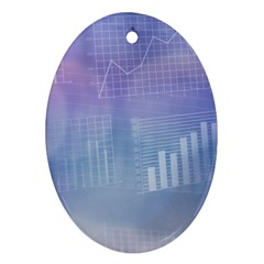 Business Background Blue Corporate Oval Ornament (Two Sides)