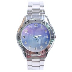 Business Background Blue Corporate Stainless Steel Analogue Watch