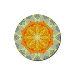 Sunshine Sunny Sun Abstract Yellow Rubber Round Coaster (4 Pack)
