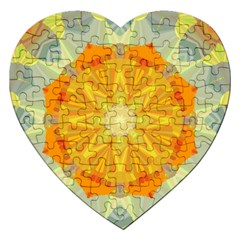 Sunshine Sunny Sun Abstract Yellow Jigsaw Puzzle (Heart)