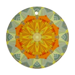 Sunshine Sunny Sun Abstract Yellow Round Ornament (Two Sides)