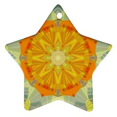 Sunshine Sunny Sun Abstract Yellow Star Ornament (two Sides)