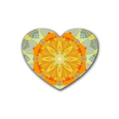 Sunshine Sunny Sun Abstract Yellow Heart Coaster (4 pack)