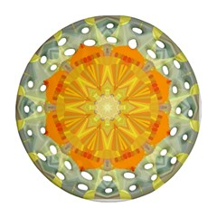 Sunshine Sunny Sun Abstract Yellow Round Filigree Ornament (two Sides)