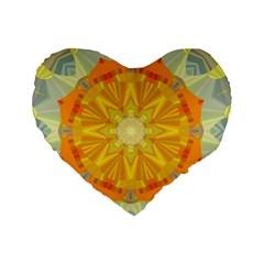 Sunshine Sunny Sun Abstract Yellow Standard 16  Premium Heart Shape Cushions