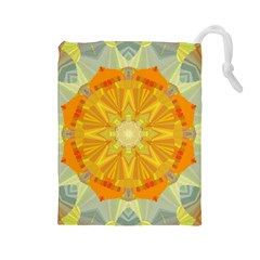 Sunshine Sunny Sun Abstract Yellow Drawstring Pouches (Large)