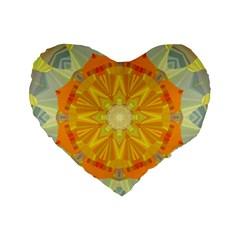 Sunshine Sunny Sun Abstract Yellow Standard 16  Premium Flano Heart Shape Cushions