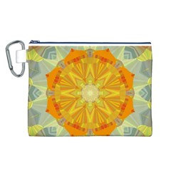 Sunshine Sunny Sun Abstract Yellow Canvas Cosmetic Bag (l)