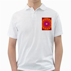 Mandala Orange Pink Bright Golf Shirts