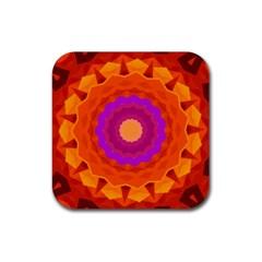 Mandala Orange Pink Bright Rubber Coaster (square)