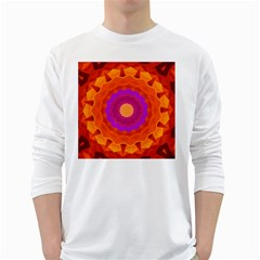 Mandala Orange Pink Bright White Long Sleeve T-Shirts