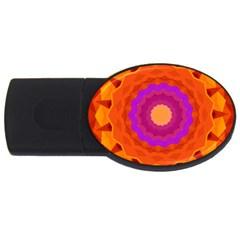 Mandala Orange Pink Bright Usb Flash Drive Oval (4 Gb)
