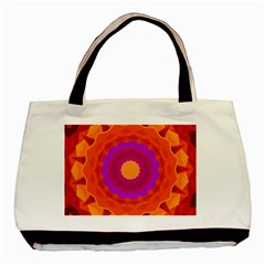 Mandala Orange Pink Bright Basic Tote Bag