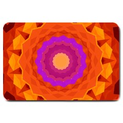 Mandala Orange Pink Bright Large Doormat