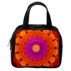 Mandala Orange Pink Bright Classic Handbags (One Side)