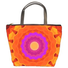 Mandala Orange Pink Bright Bucket Bags