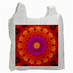 Mandala Orange Pink Bright Recycle Bag (one Side)