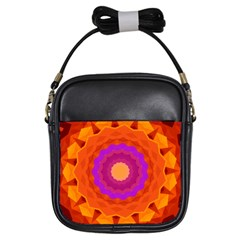 Mandala Orange Pink Bright Girls Sling Bags