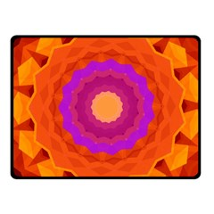 Mandala Orange Pink Bright Fleece Blanket (Small)