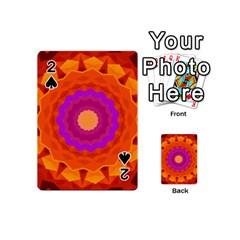Mandala Orange Pink Bright Playing Cards 54 (mini)